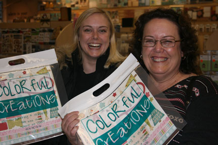 janet and shelley loving their goodies from colorful creations!