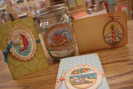 beachy cards/jar $15